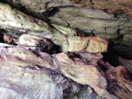 Inside one of the larger caves