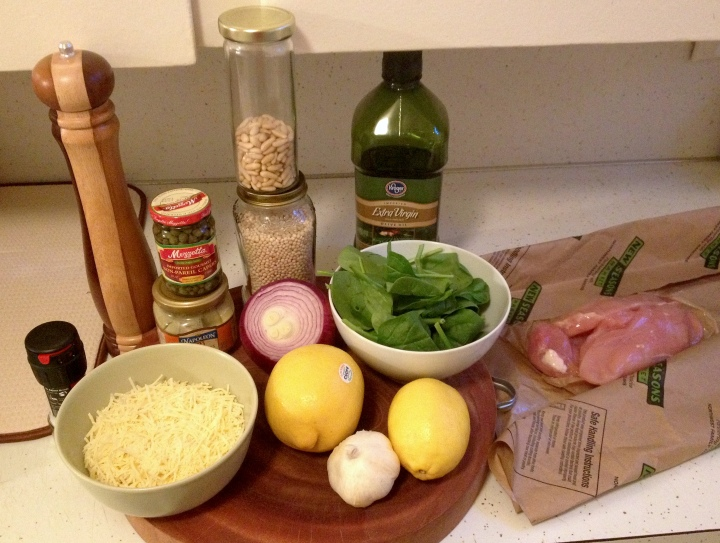 Ingredients for both the chicken and spinach cous cous side dish