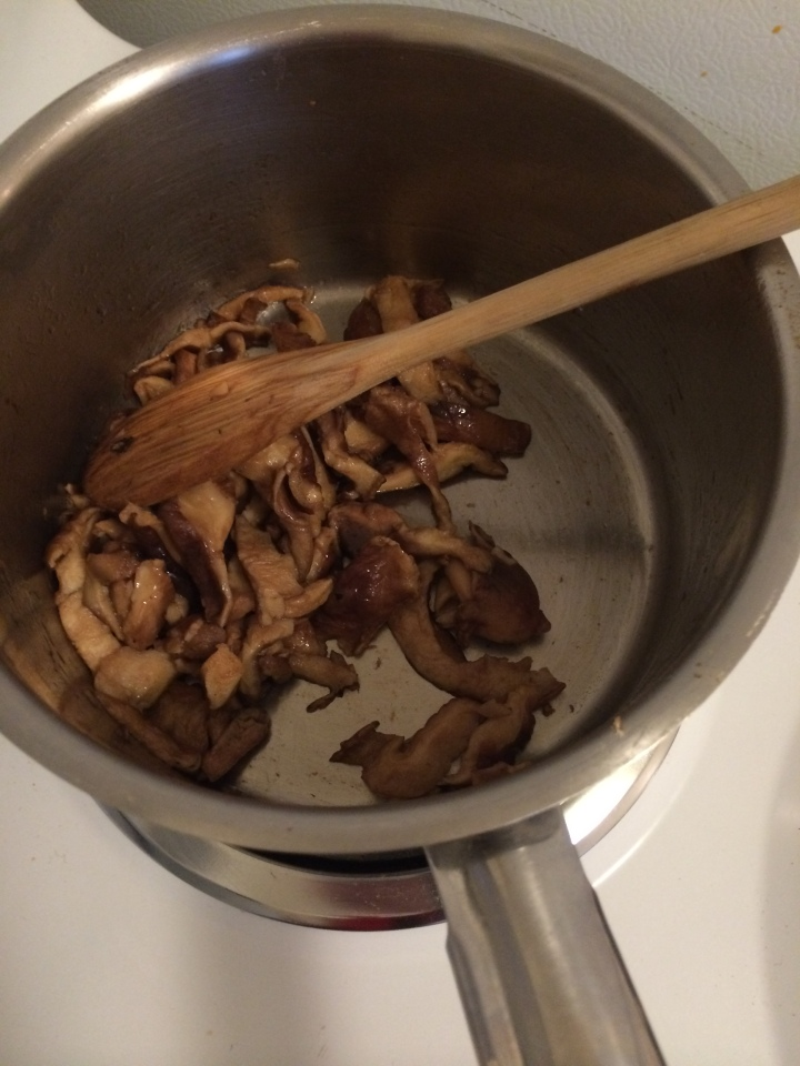 Shiitakes have a very strong flavor, so you may choose to add more or less hoisin and soy sauce to the mushrooms.