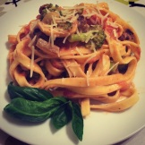 Sausage and Veggie pasta in creamy tomato vodka cream sauce