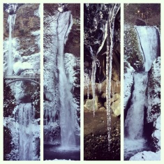 Frozen waterfalls in the Columbia River Gorge