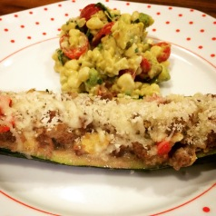 Ground beef and veggie zucchini boat