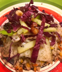 Tilapia, couscous, and radicchio salad with rosemary anchovy sauce