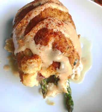 Chicken Cordon Bleu with a creamy mustard sauce