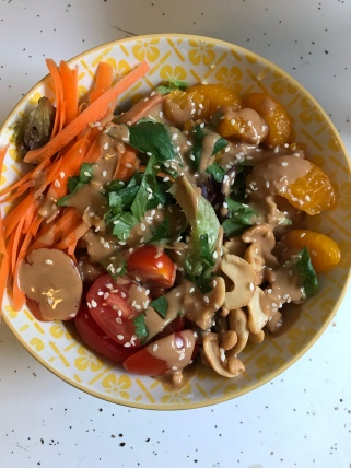 Thai inspired salad with homemade peanut dressing